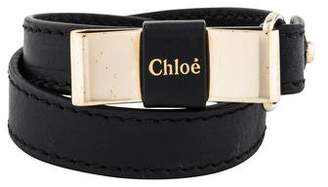 Chloé Bow Lily Leather Wrap Bracelet