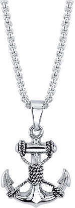 """He Rocks Anchor with Rope Pendant Necklace in Stainless Steel, 24"""" Chain"""