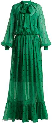 MSGM Polka Dot Silk Maxi Dress - Womens - Green Multi