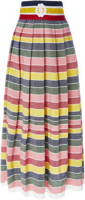 Carolina K. Santa Clara Rainbow Stripe Cotton-Poplin Midi Skirt