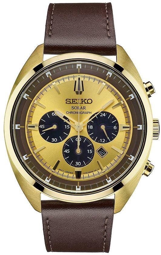SeikoSeiko Men's Recraft Leather Solar Chronograph Watch - SSC570