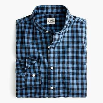 J.Crew Slim stretch Secret Wash band-collar shirt in brown gingham