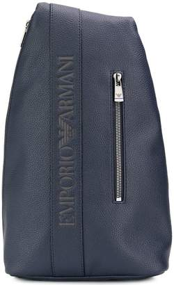 e103c620b7 Emporio Armani grained logo one-shoulder backpack