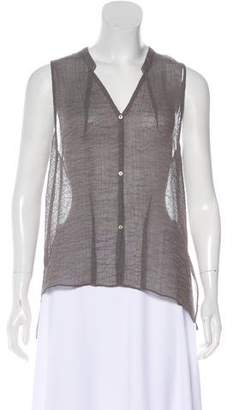 Helmut Lang High-Low Button-Up Top