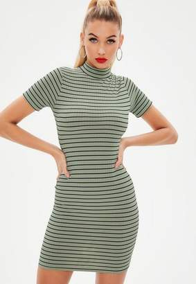 Missguided Green Ribbed High Neck Stripe Bodycon Mini Dress