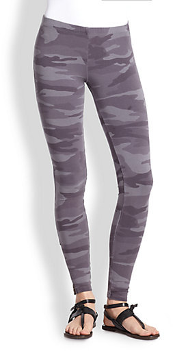 Splendid Camouflage-Print Stretch Jersey Leggings