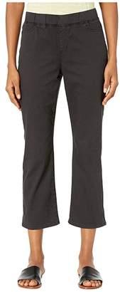 Eileen Fisher Garment Dyed Organic Cotton Stretch Denim Slim Knee Cropped Jeans in Washed Black