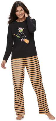 717c803a24 Women s Jammies For Your Families Halloween Top   Microfleece Striped  Bottoms Pajama Set