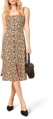 Reformation Persimmon Floral Midi A-Line Dress