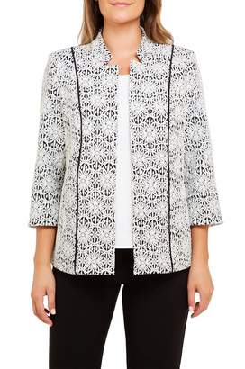 TanJay Tan Jay Plus Geo Knit Stand Collar Open Front Jacket
