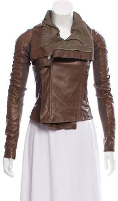 Rick Owens Asymmetrical Leather Jacket
