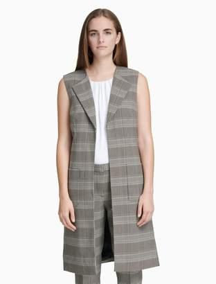 Calvin Klein plaid patch pocket long vest