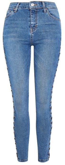 TopshopTopshop Moto mid blue side lace jamie jeans