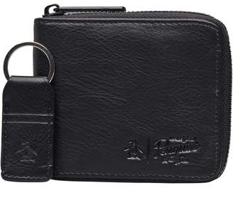 b7ddcb5db2a9 Original Penguin Mens Zip Wallet   Key Ring Set Black