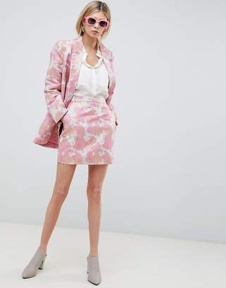 Asos Design Floral Jacquard Mini Skirt