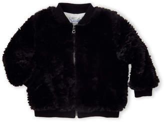 Splendid Newborn/Infant Girls) Black Faux Fur Bomber Jacket