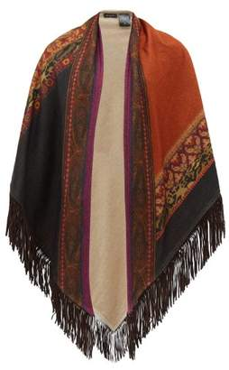 Etro Suede Fringed Printed Cashmere Poncho Wrap - Womens - Multi