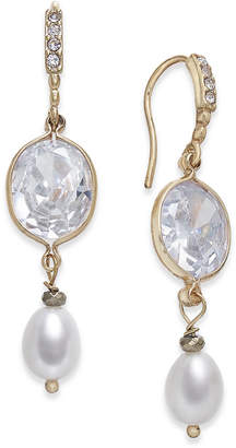 Paul & Pitu Naturally Two-Tone Pave & Imitation Pearl Double Drop Earrings