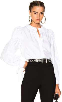 Alexander McQueen Popeline Ruched Sleeve Shirt