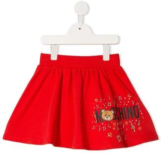 Moschino Kids teddy logo flared skirt