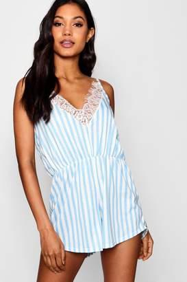 boohoo Stripe & Lace Trim Playsuit