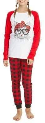 Dex Girl's Two Piece Plaid Cat Pajama Set