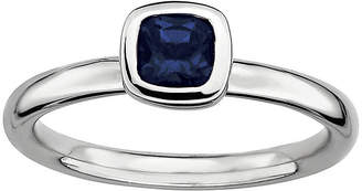 JCPenney FINE JEWELRY Personally Stackable Cushion-Cut Blue Sapphire Sterling Silver Ring
