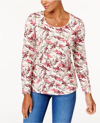 Karen Scott Print Long-Sleeve T-Shirt, Created for Macy's $9.98 thestylecure.com