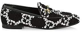 Gucci Women's Jordaan GG Tweed Horsebit Loafers