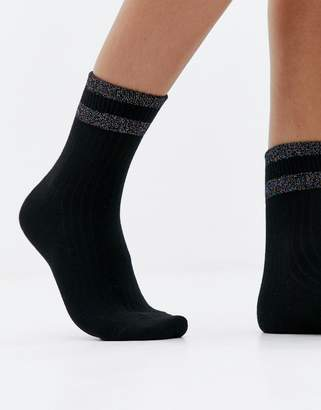 Monki socks with glitter stripe on top in black