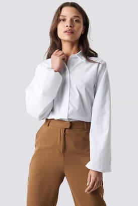 BEIGE Na Kd Trend Elastic Cuff Balloon Sleeve Shirt