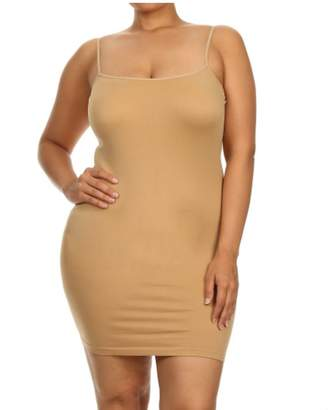 Yelete Seamless Spandex Camisole Slip Dress with Spaghetti Straps Regular and Plus