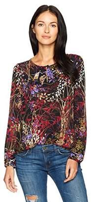 Nine West Women's Floral Long Sleeve Crepe Blouse