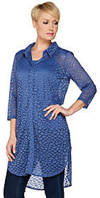 Women with Control Attitudes by Renee 3/4 Sleeve Lace Duster withCamisole