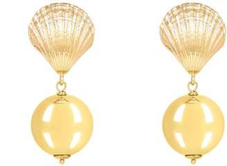 Latelita - Scallop Shell Ball Drop Earring Gold