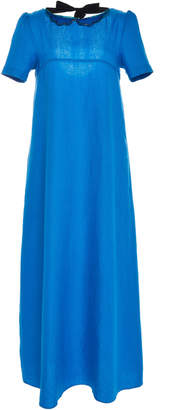Chador Stella B Linen Maxi Dress With Peter Pan Collar