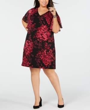 Connected Plus Size Flutter-Sleeve Floral Dress