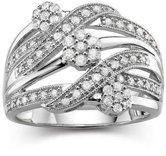 JCPenney FINE JEWELRY diamond blossom 1/2 CT. T.W. Diamond Cluster Sterling Silver Orbit Ring