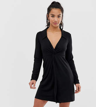 Asos DESIGN Petite twist front shirt dress