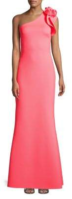 Betsy & Adam One-Shoulder Rose Scuba Gown