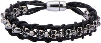 FINE JEWELRY Mens Stainless Steel Skull and Braided Black Leather Bracelet