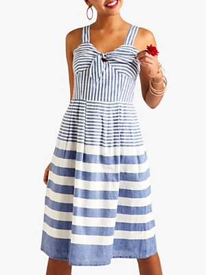 Yumi Stripe Tie Detail Dress, Blue/White