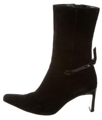 Giorgio Armani Suede Pointed-Toe Ankle Boots