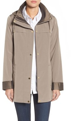 Women's Gallery Silk Look Hooded Raincoat $198 thestylecure.com
