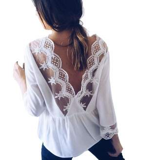 f78d07b5266 TONSEE Womens Sexy Long Sleeve Lace Open Back T Shirt Casual Tops Blouse