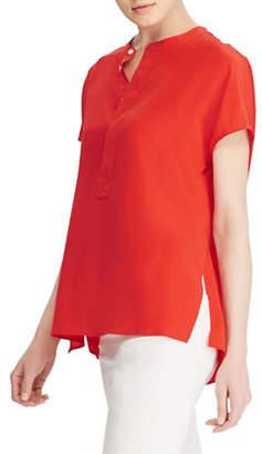 Polo Ralph Lauren Band-Collar Silk Crepe Blouse