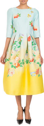 Andrew Gn 3/4-Sleeve Fit-and-Flare Degrade Floral-Brocade Tea-Length Dress
