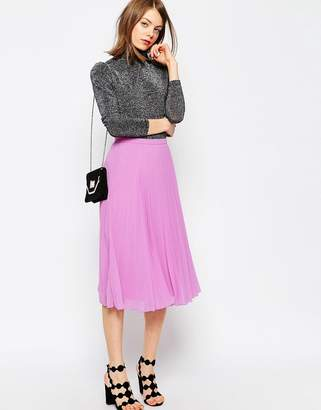 ASOS Pleated Midi Skirt $46 thestylecure.com