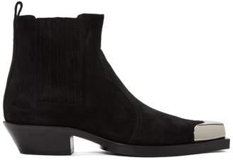 Balmain Black Suede Colt Western Boots