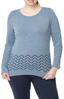Under Control Women's Plus Super Soft Lux Seamless Active Pointelle Long Sleeve Top